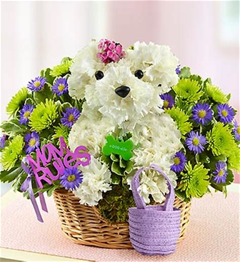puppy flower arrangement get free delivery save 14 99 on an a able flower arrangement for s day