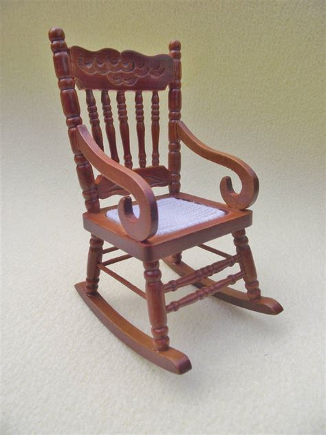 Mini Rocking Chair by Miniature Dolls House Furniture 12th Scale Wooden Rocking