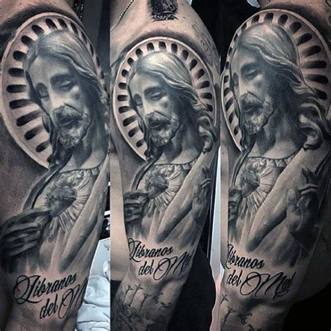 mens sleeve tattoo designs black and grey 50 jesus sleeve designs for religious ink ideas