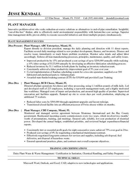 free plant manager resume exle