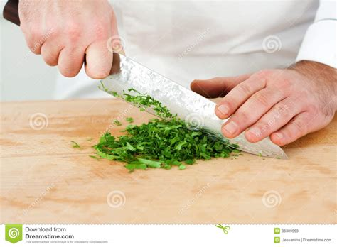 chef chopping tarragon stock image image of uniform