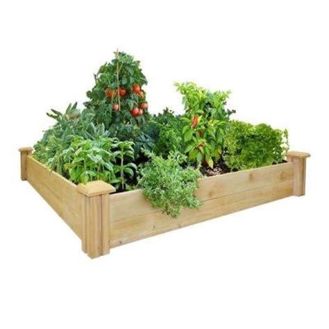 home depot raised bed greenes fence 48 in x 48 in cedar raised garden bed rc