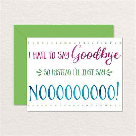 Printable Goodbye Card Funny Goodbye Card Printable Printable Farewell Card