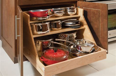 simple kitchen ideas with wooden base roll out pots pans organizer 3 shelves storage workspace