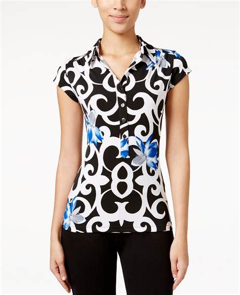 Printed Sleeve Polo Shirt printed cap sleeve polo shirt