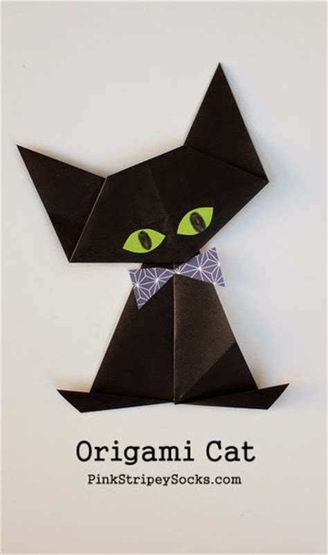 How To Fold An Origami Cat - origami black cat pink stripey socks