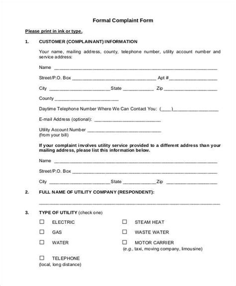 formal complaint form template sle formal complaint forms 7 free documents in word pdf