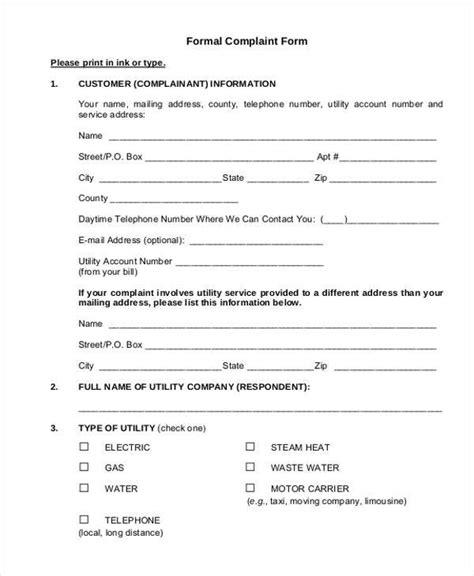sle formal template sle discrimination complaint forms 7 28 images letter