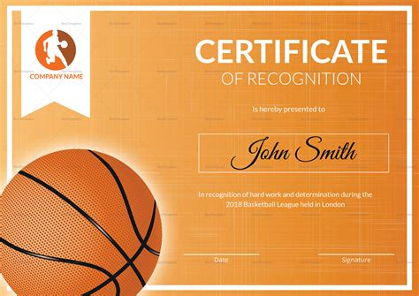 Basketball Recognition Certificate Design Template In Psd Word Basketball Award Templates