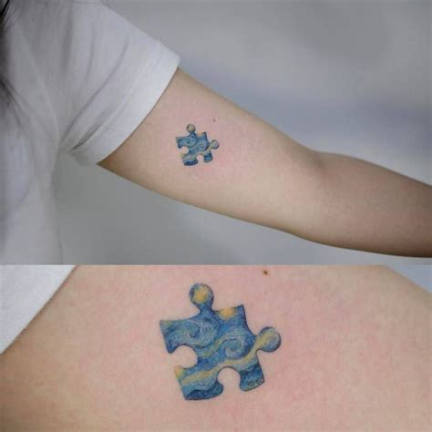 impressionist tattoo the starry inspired puzzle on the left