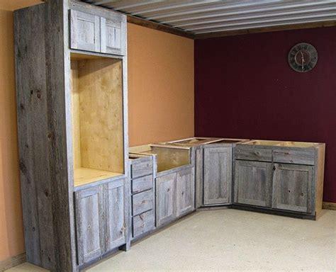 Weathered Gray Kitchen Cabinets Weathered Gray Barn Wood Kitchen Barn Wood Furniture Rustic Furniture Log Furniture By