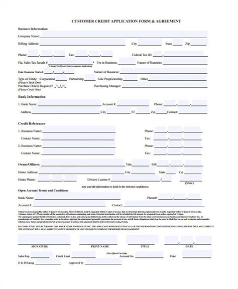 Form Credit Application Customer 21 Free Credit Application Forms