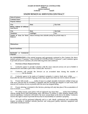 snow removal contract fill online printable fillable