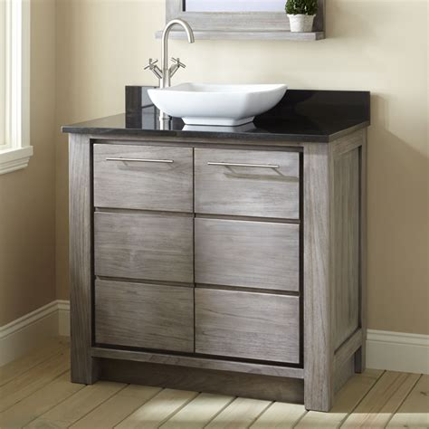 sinks and cabinets for bathrooms 36 quot venica teak vessel sink vanity gray wash vessel