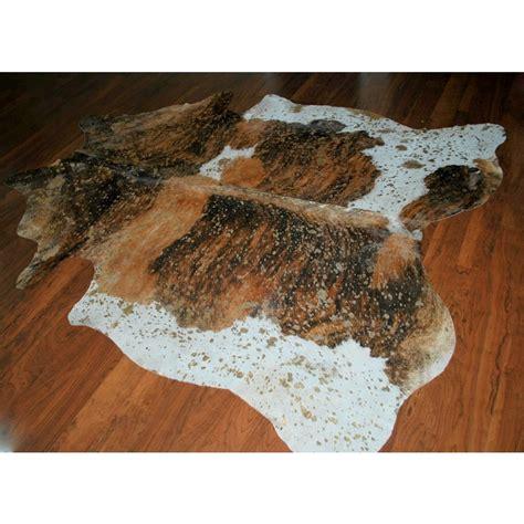 brown skin rug cowhide acid brown tricolor gold wash skin rug