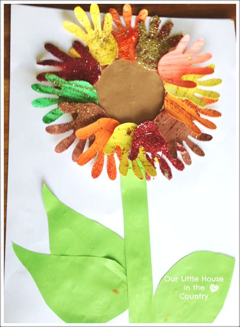 fall arts and crafts for sunflower handprint 2 autumn fall activities for