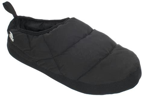 warmest slippers for mens trespass duck padded warm duvet slippers black