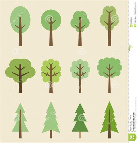 cute trees tree icons stock vector image of trees symbol natural