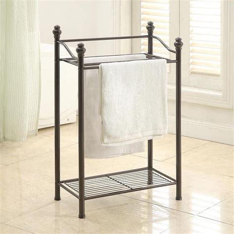 Standing Towel Rack With Shelf by Neu Home Standing Towel Rack With Shelf Walmart