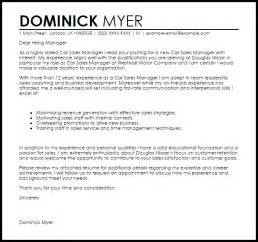 Sales Manager Cover Letter Exles by Car Sales Manager Cover Letter Sle Livecareer