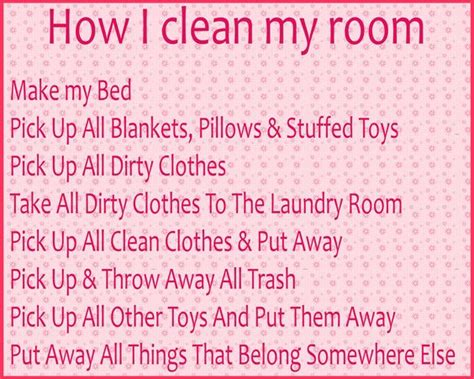 how to say clean my room in a checklist for the kiddos when they come to me and say quot i don t how to clean my room
