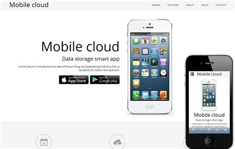Mobile Cloud A App Based Mobile Website Template By W3layouts Mobile Web Page Template