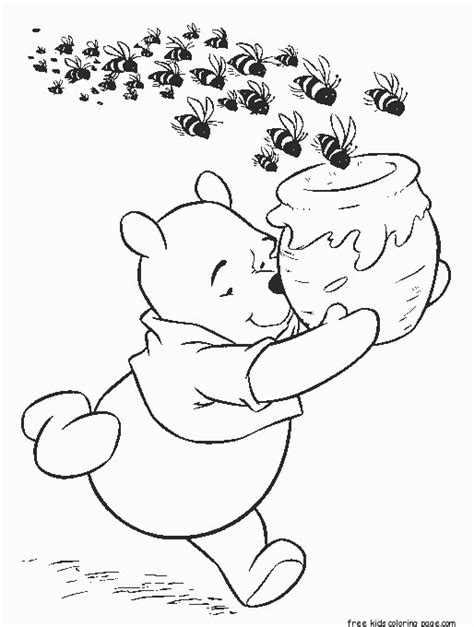 winnie  pooh honey bees cereal coloring page