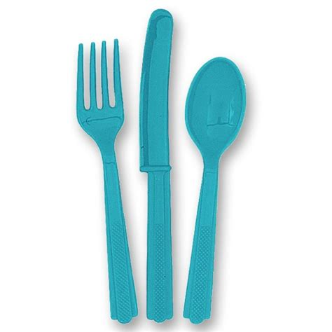 knives and cutlery caribbean teal turquoise cutlery set partyrama
