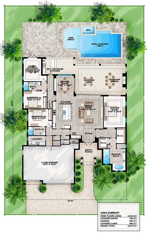 House Plans With Pool by Coastal Florida Mediterranean House Plan 75965