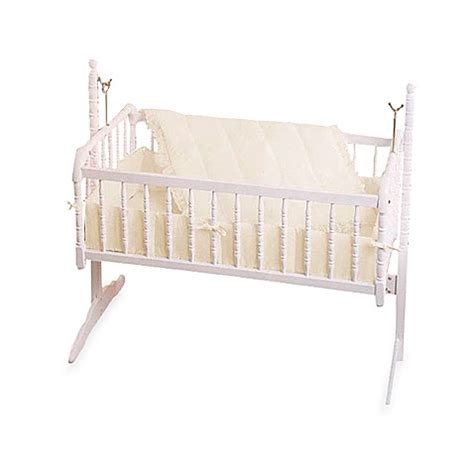 3 Piece Ecru Eyelet Cradle Bedding Set Bed Bath Beyond Ecru Crib Bedding