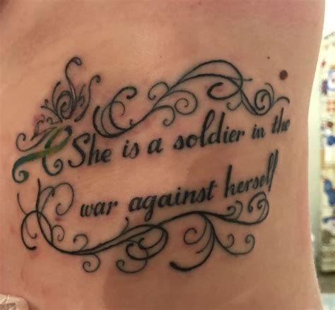 bipolar tattoos bipolar quote bpd she is a soldier in the war