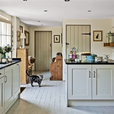 country home interior shabby chic kitchen with stripped and painted wood floor