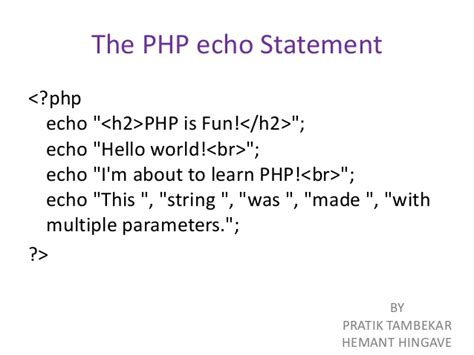 tutorial php echo php echo multiple variables phpsourcecode net