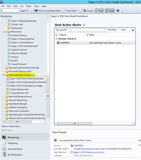 Monitor Huper monitoring hyper v replica using system center operations manager virtualization