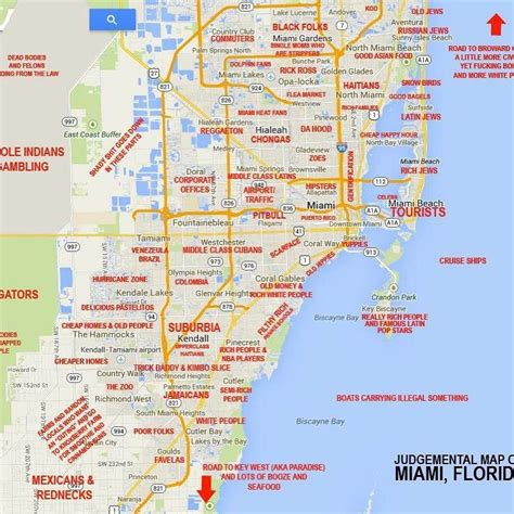 miami neighborhood map this map of miami neighborhoods and stereotypes associated