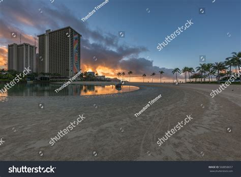 Waikiki In The Morning by Honolulu Hawaii Usa Feb 1 2017 Stock Photo 568858657