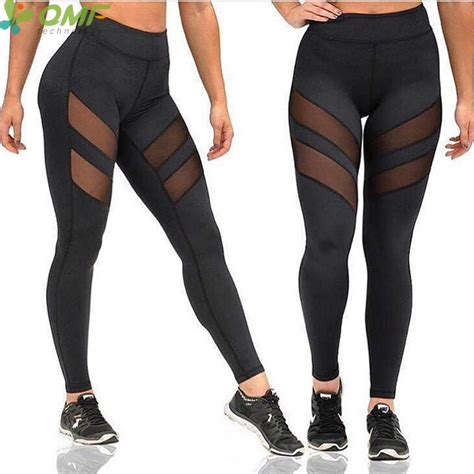 St Spandex Fit 3 4th 2017 mesh insert fitness workout patchwork lift translucent