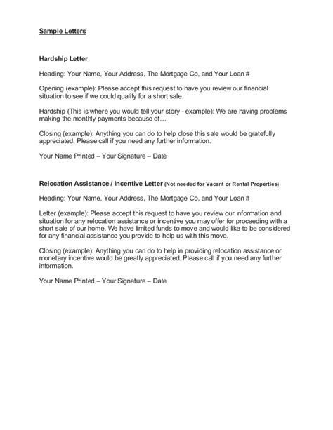 Hardship Letter Due To Relocation Wendy Shaw Sale Package