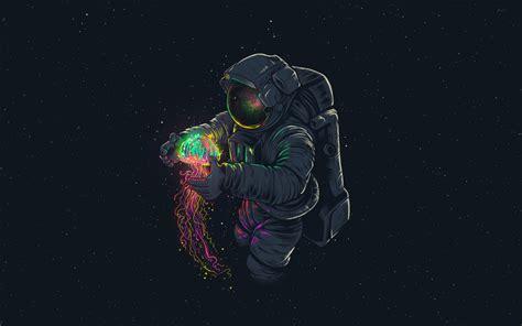 wallpaper  astronaut jellyfish space art background