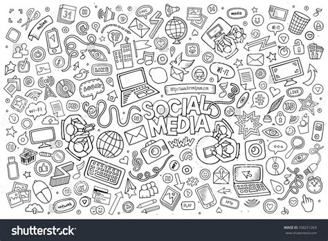 doodle theme vector line doodle set of objects and symbols