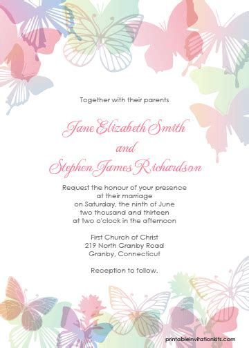 butterfly invitation card template butterflies wedding invitation set wedding