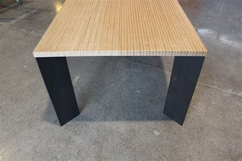 Plywood Table by Plywood Table With Steel Base