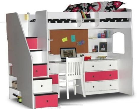 Bunk Bed W Desk Underneath by Pink White Loft Beds For Stairs Makayla