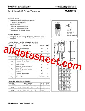 mje15033 datasheet pdf inchange semiconductor company limited