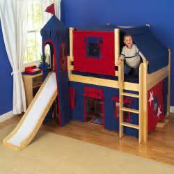 Kid Bunk Bed With Slide Maxtrix King S Castle Low Loft Bed With Slide