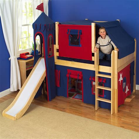 kids loft bed with slide maxtrix kids king s castle low loft bed with slide