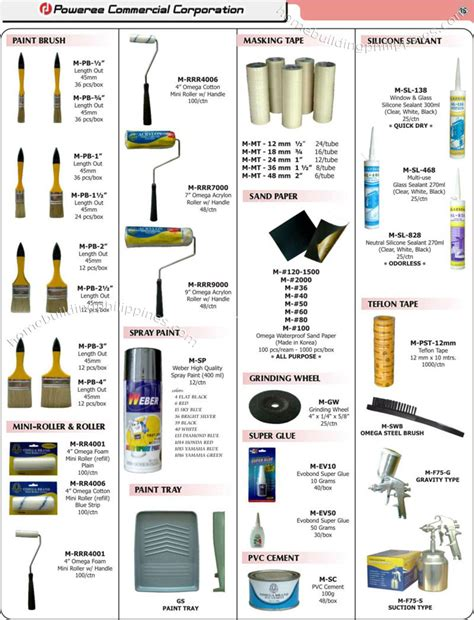 Plumbing Materials Price List by Construction Supplies Paint Brush Sand Paper Teflon