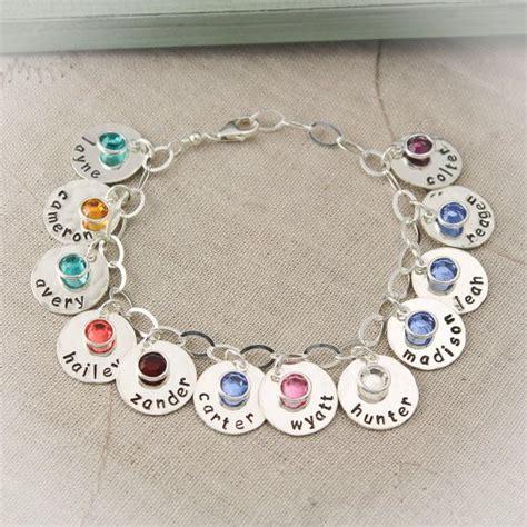 personalized charm bracelet with birthstones