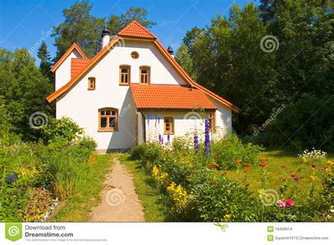 Contemporary House Colors by White House With Red Tile Roof Stock Images Image 19456914