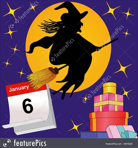 clipart befana illustration of here comes the befana and brings many gifts